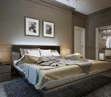 Projekt sypialni. Brązowa, klasyczna sypialnia