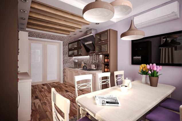 Zobacz galerię zdjęć Nowoczesna kuchnia  białe meble kuchenne i fioletowe śc   -> Kuchnia Meble Biale