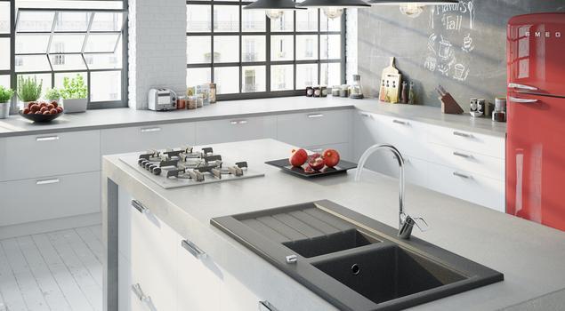 Minimalistyczne baterie w nowoczesnej kuchni