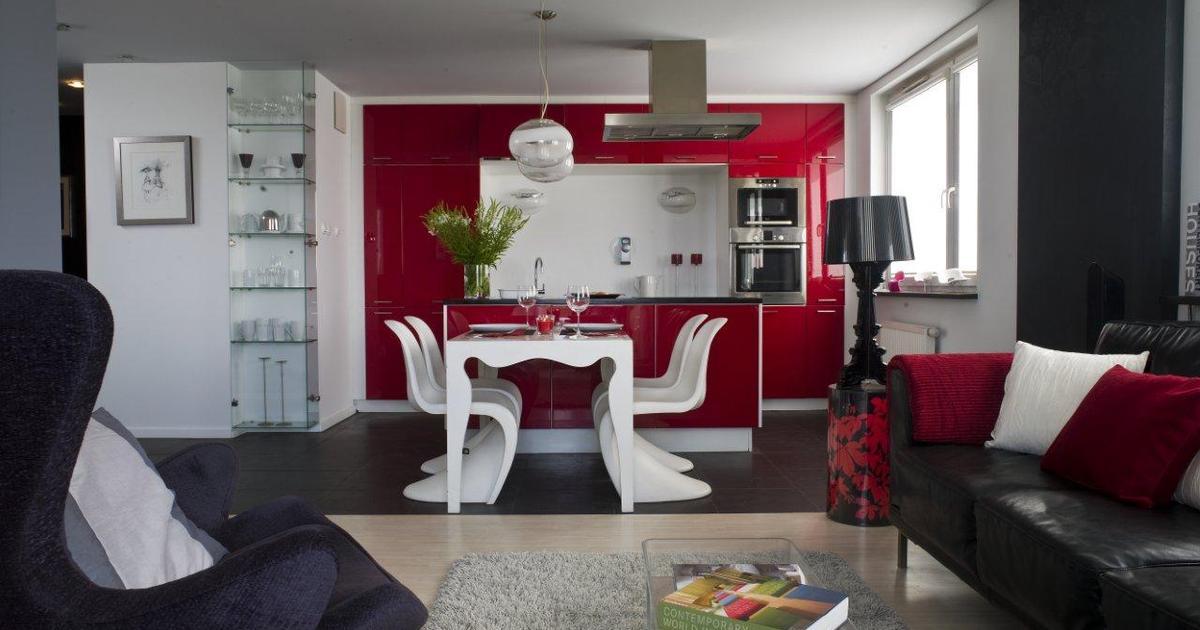 Kuchnia z salonem nowoczesne meble i kolory ścian -> Kuchnia Z Salonem Kolory Ścian