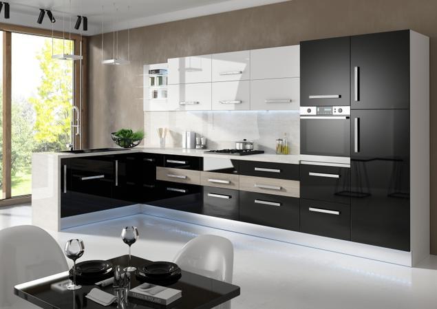 Kuchnia czarno biała Białe i czarne meble kuchenne w   -> Kuchnia Otwarta Meble